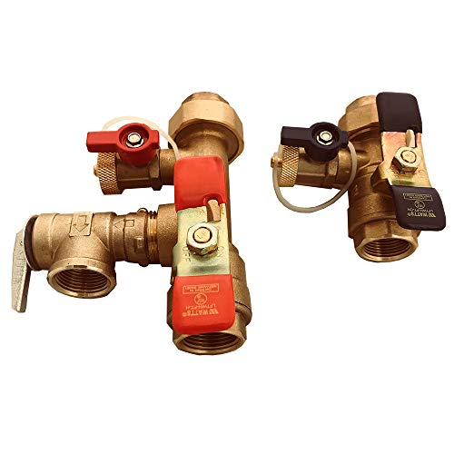 Watts 3/4-LFTWH-FT-HCN-RV Tankless Water Heater Service Valve Kit, with Pressure Relief Valve, Lead Free