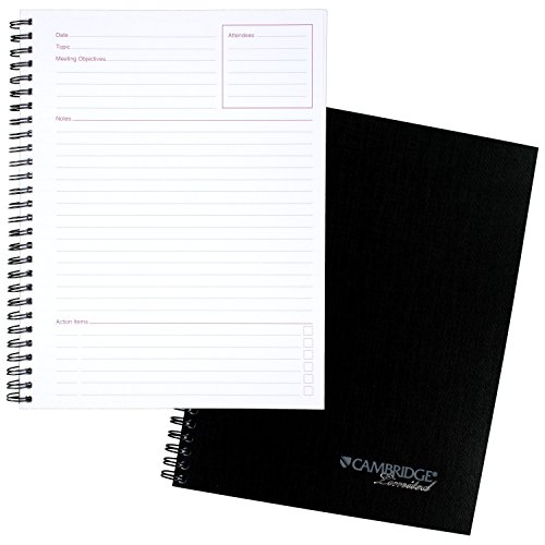 "Cambridge Limited Notebook, 9-1/2"" x 6-5/8"", 80 Sheet Business / Meeting Notebook, Black (06982)"