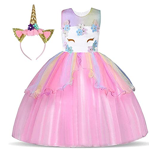 Foierp Unicorno Vestito Bambina, Costumi Unicorno Bambina Festa Cosplay Abito da Sposa Carnevale Ballo Abito Festa di Compleanno Vestito della Principessa