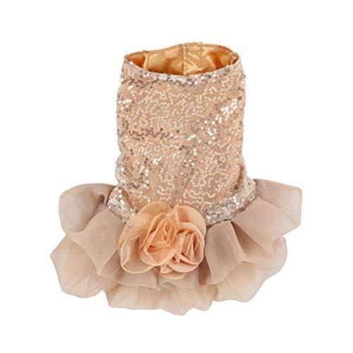 ukcoco elegante vestido de novia falda para perros y gatos, vestido de ceremonia para animales domésticos, vestido falda para Festival el día (de oro)