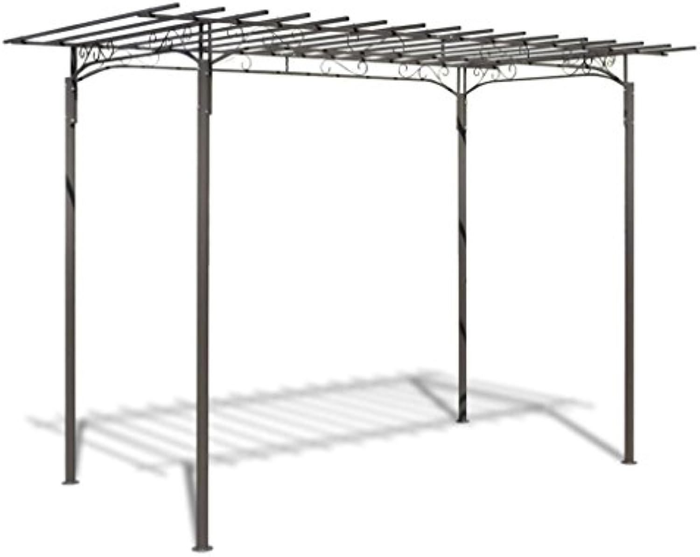 Tidyard Pavillon Gartenpavillon Anbaupavillon Gartenlaube Gartenhaus Laube Pergola Terrassenüberdachung aus Stahl 190 x 320 cm Braun