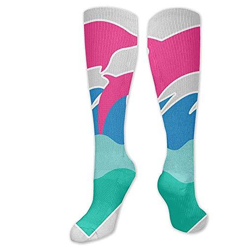 Joy Edward Sky-Flower Dolphin.png Calcetines de compresión Mujeres/Hombres Lo mejor para correr, medicina, deportes atléticos, enfermera