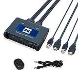 Arkidyn HDMI KVM Switch mit Kabeln 2 Ports PC Computer KVM Umschalter für eine Tastatur, eine Maus und einen USB-Peripheriegerät 4kx2K@ 30Hz Auflösung, Hotkey Nicht unterstützt, mit HUB Anschlüssen