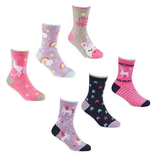 Generic Mädchen 6 Paar Socken mit Einhorn-Motiv, Baumwolle Gr. M, mehrfarbig