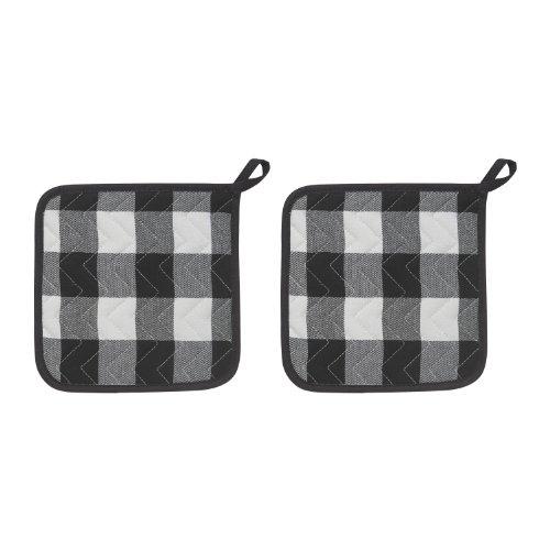 Now Designs Potholders, Picnic Check Black, Set of 2