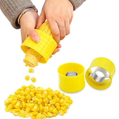 FireKylin 3 Pieces Stainless Steel Cob Corn Stripper Corn Stripping Tool Manual Corn Threshing for Removing Kernels from Fresh Corn