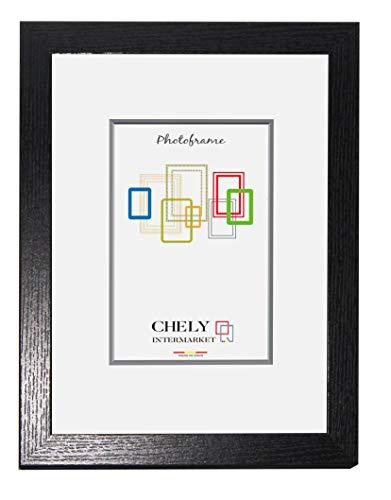 Chely Intermarket, Marco de Fotos 50x60 cm (Negro) MOD-272 Estilo galería | Marco de Madera para Decoración de Casa | Fotografías de Boda | Listado de Precio | moldura con Relieve.(272-50x60-1,30)