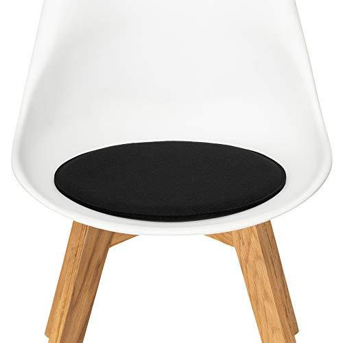 FILU Sitzkissen aus Filz 2er-Pack Schwarz rund (Farbe und Form wählbar) 35 cm – Sitzkissen für drinnen und draußen, Deko für jeden Stuhl im Wohnzimmer oder Esszimmer, Gartenstuhl/Balkonstuhl