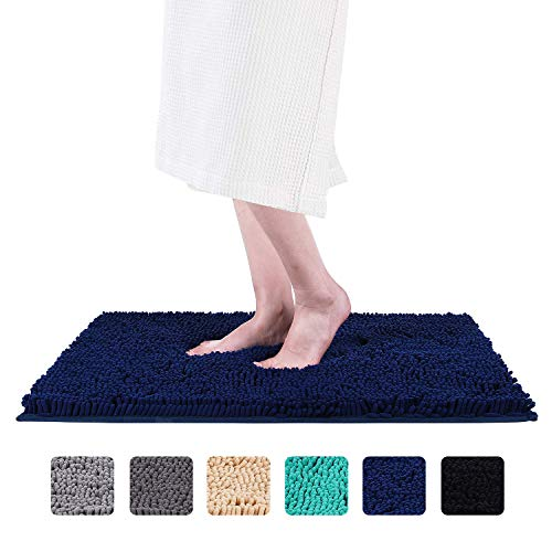 Smiry Luxury Chenille Bath Rug (24x 16), Extra Soft and Absorbent Shaggy Bathroom Mat Rugs, Machine Washable, Non-Slip Plush Carpet Runner for Tub, Shower, and Bath Room(Navy Blue)