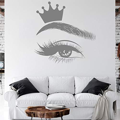 Kjlfow Corona de pestañas Apliques de pestañas Arte Ventana Vinilo Pegatina salón de Belleza Mujer niña ceja Apliques Mural 42X42CM