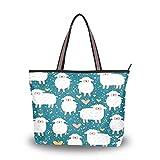 RXYY Animal Llama corazón bolsos y monedero para mujer bolso de mano grande capacidad superior asa Shopper hombro bolsa, color Multicolor, talla Medium