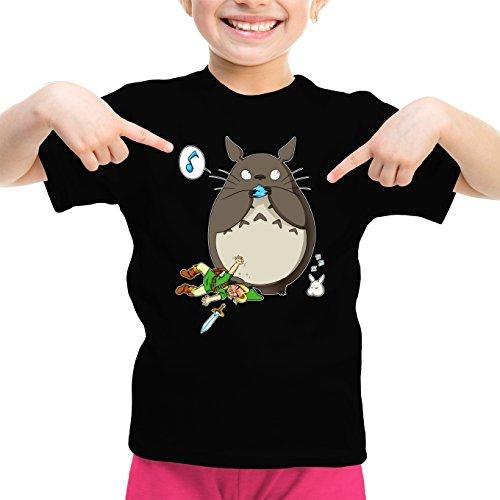 Okiwoki T-Shirt Enfant Fille Noir Parodie Zelda - Totoro et Link - Ni Vu ni connu. (T-Shirt Enfant de qualité Premium de Taille 5-6 Ans - imprimé en France)
