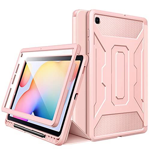MoKo Funda Compatible con Galaxy Tab S6 Lite 10.4 2020 SM-P610/P615, [Protector de Pantalla Incorporado] Cubierta Anti-Rasguños con Auto Estela/Sueño y Soporte de Pencil - Rosa