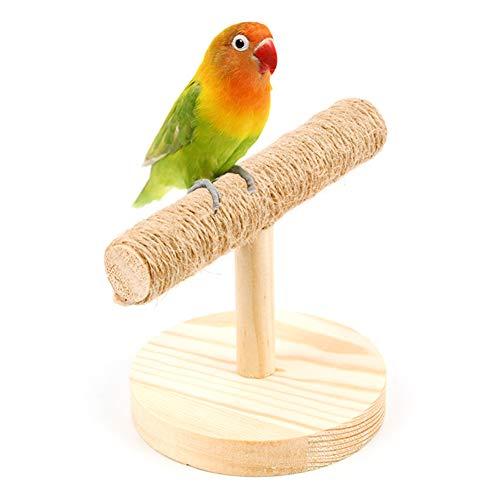 LPxdywlk Parrot Perches Pet Bird Parrot Cuerda De Madera Perch Stand Playground Platform Training Chew Toy Color de Madera