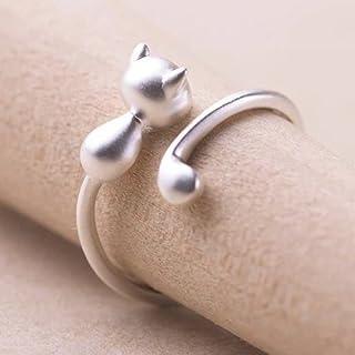 timebetter 银戒指女 925银 开口戒指 可爱猫咪 时尚女戒(礼品包装)