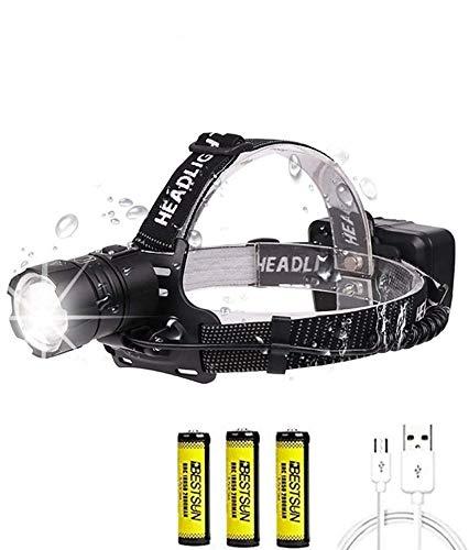 Linterna frontal LED Recargable, XHP70 10000 Lúmenes Alta Potencia LED Lámpara de...