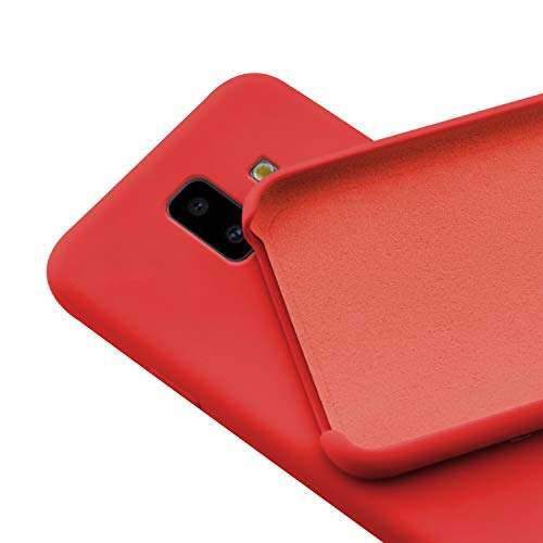 N NEWTOP Custodia Cover Compatibile per Samsung Galaxy J6 Plus (2018), Ori Case Guscio TPU Silicone Semi Rigido Colori Microfibra Interna Morbida (Rossa)