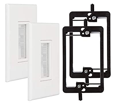 Kebulldola Screwless Cable Wall Plate, Deco Brush Wall Plate + 1 Gang Low Voltage Mounting Bracket for Cable Pass Through (White, 2 Pack)