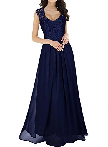 MIUSOL Damen Aermellos V-Ausschnitt Spitzenkleid Brautjungfer Cocktailkleid Chiffon Faltenrock Langes Kleid Blau S