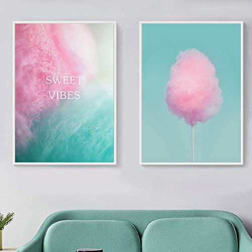 MYSY Lienzo Pintura Carteles Arte de la Pared Rosa Algodón de azúcar Vivero Imágenes Chica Dormitorio Decoración del hogar-40x60cmx2 Piezas sin Marco