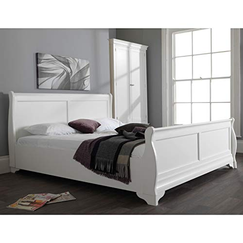 Jolie Oak White Painted Furniture 6' Super King Size Sleigh Bed by Oak Solution