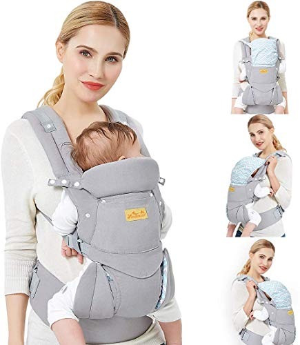 Porta Bebé ergonómico/algodón puro más ligero y transpirable/multiposición: dorsal y ventral/ajustable apoyo para la cabeza/para el recién nacido y del niño de 3 a 48 meses,F