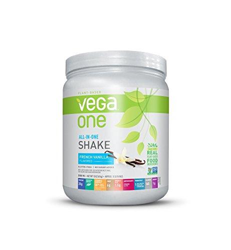 Vega One All-in-One Nutritional Shake French Vanilla 15 Ounce - Plant Based Vegan Protein Powder, Non Dairy, Gluten Free, Non GMO