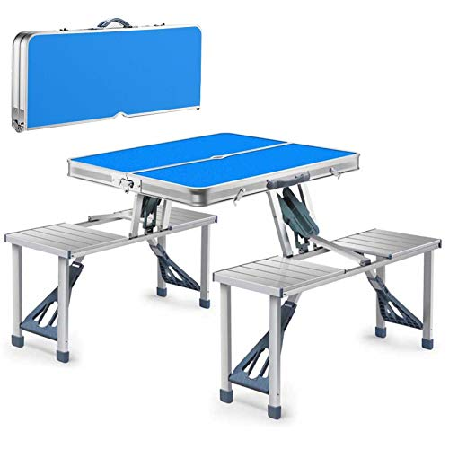 YJHH Small Folding Camping Table, Camping Table for Grill Portable, with Aluminum Table Top 4 Chairs Umbrella Hole, Lightweight Metal Foldable Camping Table for Grill Balcony Garden Camping,Blue