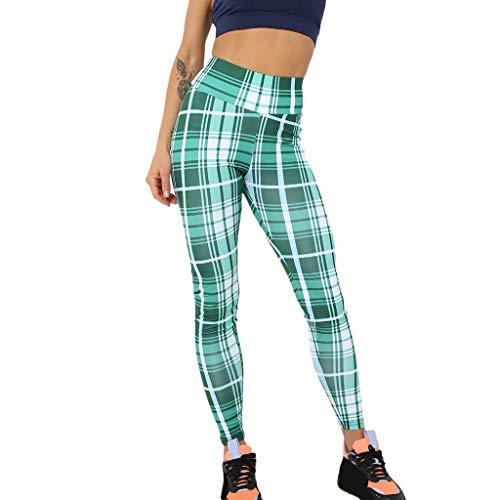 WOZOW Clearance Leggings Gamaschen Damen Plaid Muster Print Druck Long Lang Jogger High Waist Dünn Skinny Strecken Casual Fitness Sporthosen Yoga...
