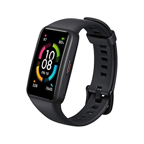 HONOR Band 6 Smartwatch Reloj Inteligente Hombre Mujer Fitness Tracker Monitor de Frecuencia Cardíaca Spo2 y Sueño Smart Watch de 1.47'' AMOLED 5ATM 14 Días de Batería para Android, Negro