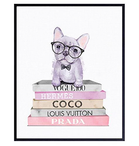 Glam Dog Wall Decor - French Bulldog Gifts - Cute Puppy Wall Decor - Fashion Design Wall Art - Dog Lover Gifts - Dog Wall Art - Designer, Coco, Prada, LV Wall Decor - Glamour Couture Wall Art