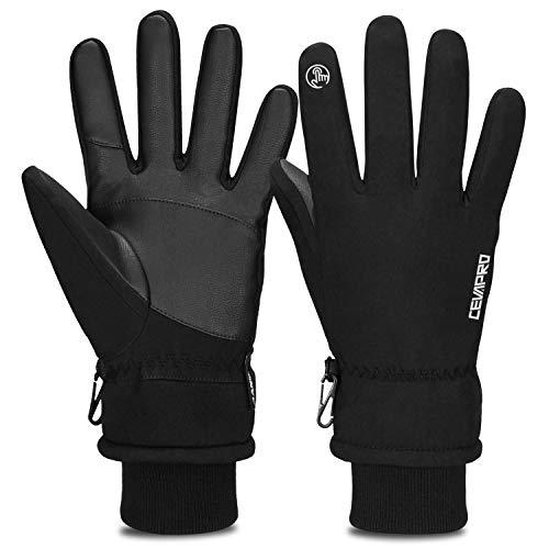 Cevapro Warm Winterhandschuhe Wasserdicht Touchscreen Handschuhe Winddicht Atmungsaktiv Running-Handschuhe Männer Frauen für Outdoor Sports,Schwarz, L