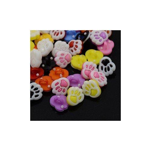 Acrylique Boutons Mixte-Couleur Empreinte 12 x 14mm à Queue Paquet De 20