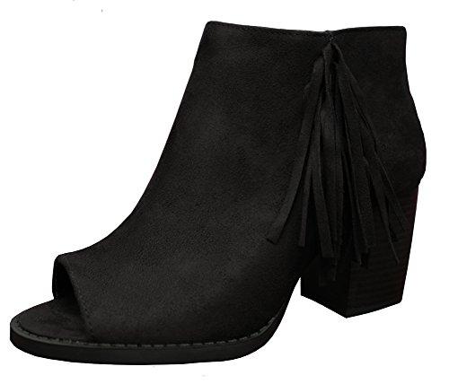 Soda Women's Sueded Fringe Peep Toe Chunky Stacked Heel Bootie (6 B(M) US, Black)