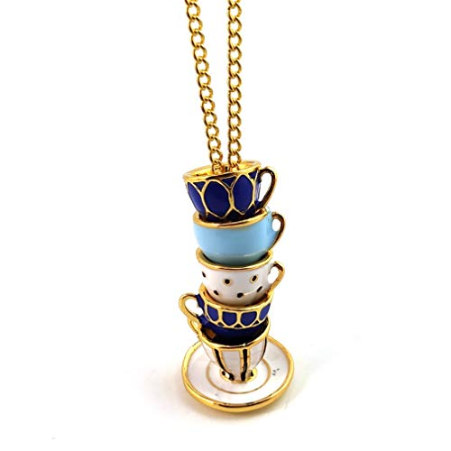 YAZILIND Long Necklace Enamel Glaze Tea Cup Pendant Sweater Chain Women Jewelry Gift