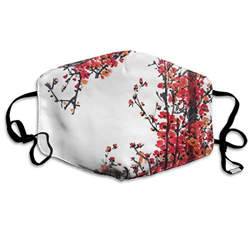 Olive Croft Gesichtsschutz Mundschutz Japanische Kirschblüte Sakura Branch Mit Pinselstrichen Künstlerischer Bilddruck