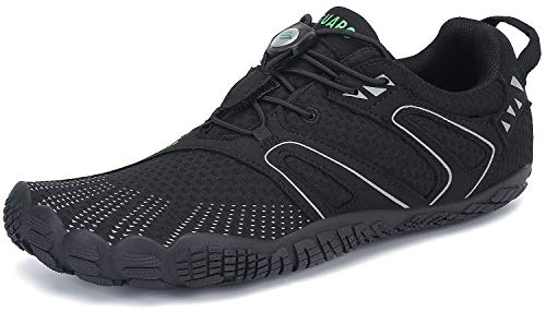 SAGUARO Barfussschuhe Herren Outdoor Fitnessschuhe Männer Barfuß Laufschuhe Walkingschuhe Minimalistische Zehenschuhe Traillaufschuhe St.1 Schwarz 44