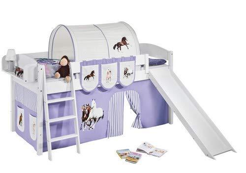 Lilokids Spielbett IDA 4105 Pferde Lila Beige-Teilbares Systemhochbett weiß-mit Rutsche und Vorhang Kinderbett, Holz, 208 x 220 x 113 cm