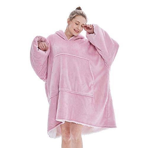 Voqeen Couverture à Capuche Ultra Douce Chaud Confortable Peluche Flannel Hoodie Sweat à Capuche Manteau Long en Polaire avec Grande Poche Lumineux Pyjama pour Homme Femme