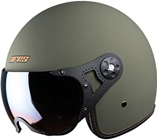 Steelbird Ares A-5 Aviator Open Face Helmet for Professional or Cruiser Bike Rider's (Large 600 MM, Battle Green With Rainbow Visor)