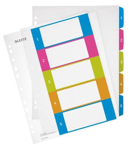 LEITZ Zahlen - Register WOW 1241 1-5 / Vollformat DIN A4 / Polypropylen / 5-teilig / transparent m. farbigen Taben