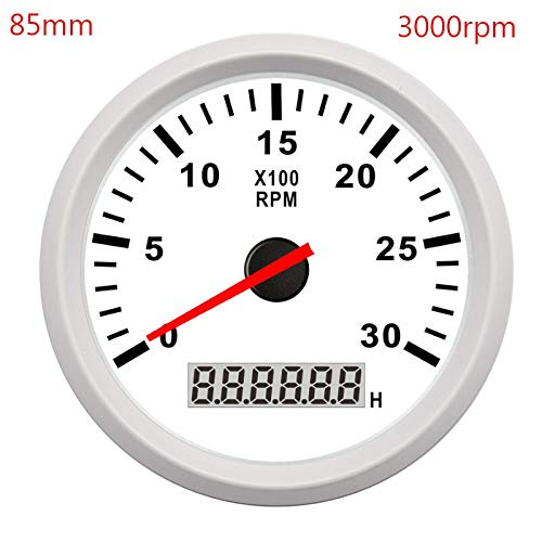 Odometer Spur 52mm / 85mm Boot Tachometer Marine-Auto Tacho Meter LCD Digital Red Light 0-9990 RPM Lap Timer Betriebsstundenzähler 12 / 24V ZHQHYQHHX (Color : White 3000 RPM, Size : Kostenlos)