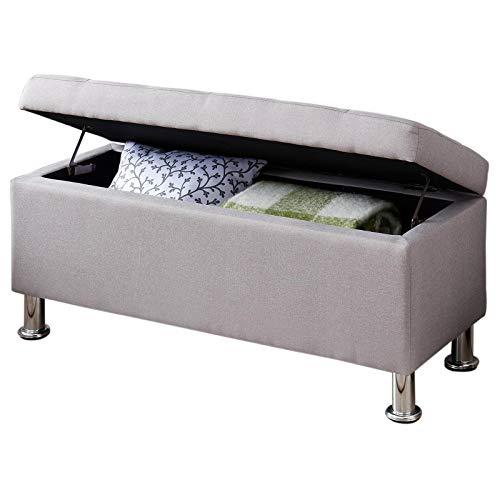 IDIMEX Banc de lit Nizza Coffre de Rangement avec Assise rembourrée Pouf capitonné Bout de lit avec Pieds en métal chromé, Structure en MDF et revêtement en Tissu Gris