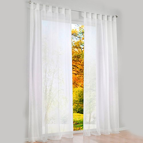 Transparent Schlaufen Gardine Schöne Vorhänge 1er-Pack Vorhang H*B 145 * 140cm Weiß