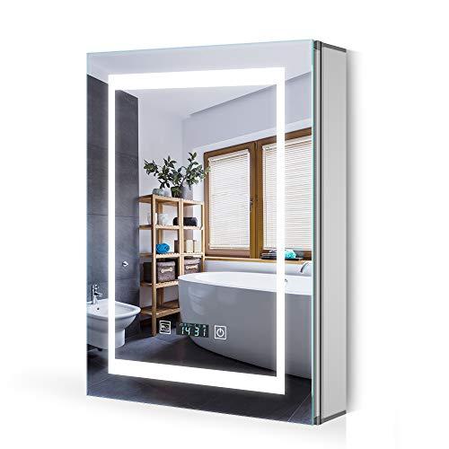 Quavikey LED Spiegelschrank Badezimmer Spiegelschrank Aluminium mit LED Beleuchtung Digital Uhr Rasier Steckdose Antibeschlag Touchschalter Helligkeit Dimmbar Soft-Close-Funktion 50x70cm(B*H)