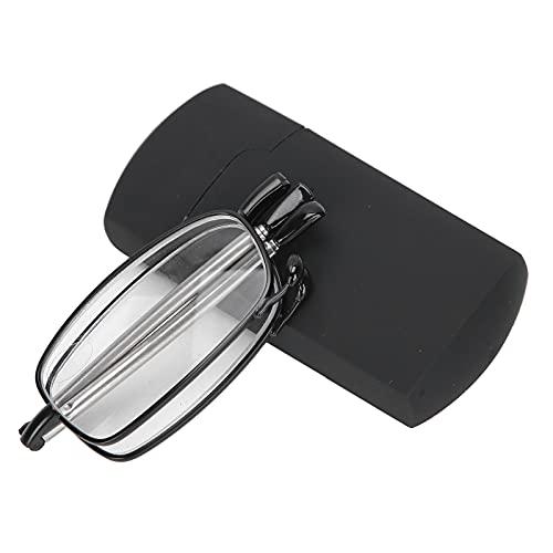 Gafas de lectura Lectores negros de moda Gafas presbiópicas plegables con estuche portátil para hombres y mujeres mayores(+200)