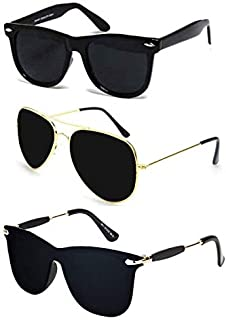 Sheomy New Arrival Special Collection of Festive Seasons Black Color Unisex UV Protected Avaitors, Aviators and s Sunglasses Combo Ideal for Boys, Girls, Men, Women Way fairs