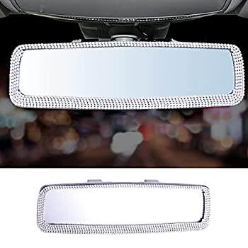 LivTee Bling Car Mirror Accessories Bling Rhinestone Car Rear View Mirror Crystal Diamond Rear View Mirror Cover for Women and Men