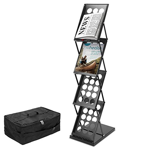 Voilamart Literature Rack Brochure Magazine Holder Rack Stand Portable Pop-up Folding Display Catalog Literature Holder Rack, 4 Pockets for Trade Show Booth Office Retail Store with Carry Bag