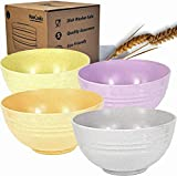 Wheat Straw Bowl Unbreakable Large Cereal Bowls 24oz Wheat Straw Degradable Bowl Set 4- Microwave & Dishwasher Safe - Eco Friendly - Ideal Alternative to Melamine